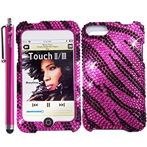 The Friendly Swede (TM) Zebra Bling Rhinestone Diamond Hard Case for Apple iPod Touch iTouch 2nd and 3rd Generation 8GB 16GB 32GB 64GB - With Stylus & Retail Packaging
