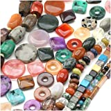 Gemstone Bead Lot Mix #3 Assorted Shapes, Sizes, Colors 70 Inches Total