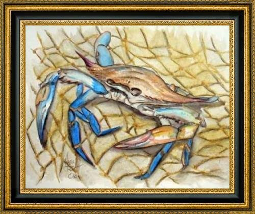 "Blue Crab by Mark Ray - 30"" x 24"" Framed Premium Canvas Print"