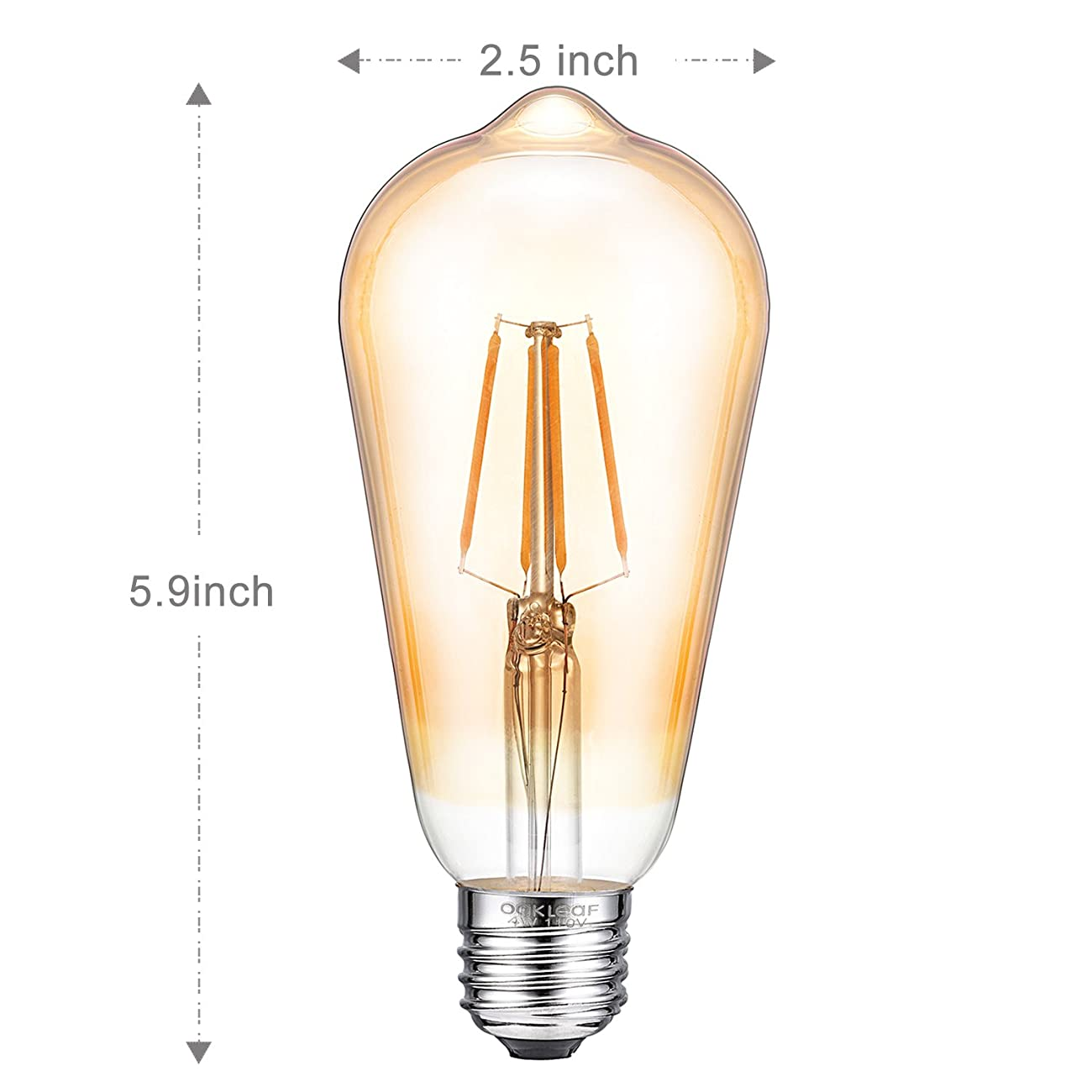 Antique LED Bulb, Oak Leaf 4W ST64 Vintage Antique Style Edison Bulb E26 2200K Warm White LED Light 40W Equivalent, 400lm, Amber Glass, Pack of 6 2