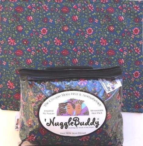 'Nugglebuddy Microwavable Moist Heat & Aromatherapy Organic Rice Pack. Teal Floral Fabric With Green Tea & Aloe Aromatherapy.