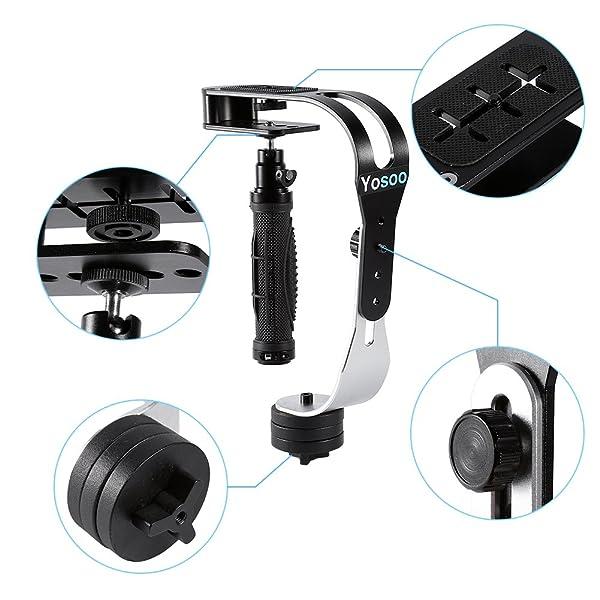 ESTABILIZADOR DE CÁMARA DE MANO, PRO ESTABILIZADOR DE CARDÁN DE VIDEO - Steadycam de mano para videocámara digital GoPro DV DSLR SLR (Negro)