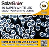Solar Brite Deluxe 50 LED Super Bright White Decorative Solar Fairy String Lights, choice of light effect. Ideal for Trees, Gardens, Festive Parties &amp; More...