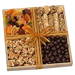 Gourmet Chocolates, Almond clusters, Deluxe Dried Fruits and Nuts Gift Tray - Lactose Free