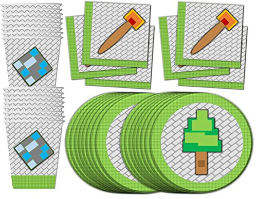 Mining-Pixel-World-Birthday-Party-Supplies-Set-Plates-Napkins-Cups-Kit-for-16