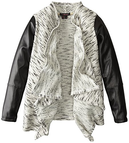 My Michelle Big Girls' Gray Open Cardigan with Black Faux Leather Sleeves, Black/Ivory, Large