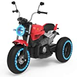 HOVERHEART Kids 3 Wheels Electric Tricycle Ride on Motorcycle 6V Battery Powered (Red) (Color: Red)