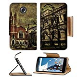 MSD Premium Motorola Google Nexus 6 Flip Pu Leather Wallet Case Digital photo collage grunge style composition of a street of a dark citiy with a IMAGE 23134315