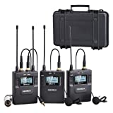 Comica CVM-WM300(A) 96-Channel Zinc Alloy UHF Rechargeable Wireless Dual Lavalier Microphone System for Canon Nikon Sony Panasonic D/SLR Camera,XLR camcorder & Smartphone (394-Foot Range)(2TX+1RX)