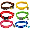 Aoklea Fashion Polka Dots Design Small Dog Puppy Cat Nylon Collar with Bell Neck 21-32cm Adjustable Length Pet Collar
