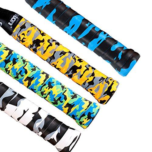 Senston Camouflage Overgrip per racchetta, Super assorbente, antiscivolo, con fori da Tennis, Grip-Nastro Anti-scivolamento per racchette da Badminton x 4 Pack
