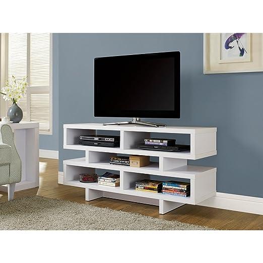 "WHITE HOLLOW-CORE 48""L TV CONSOLE (SIZE: 48L X 16W X 24H)"