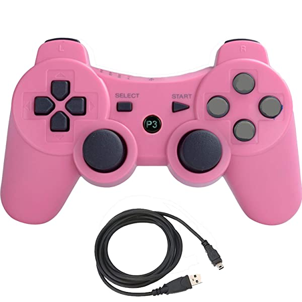 Molgegk Wireless Bluetooth Controller for PS3 Double Shock - Bundled USB Charge Cord (Pink) (Color: PINK)