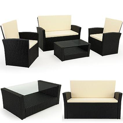 10 tlg. Polyrattan Sitzgruppe mit Glastisch - Sitzgarnitur Rattan Lounge mit 7cm dicken Sitzauflagen