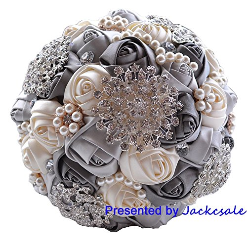 Romantic Wedding Bride Holding Bouquet Roses with Diamond Pearl Ribbon Valentine's Day Bouquet Confession (gray)