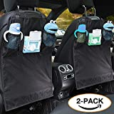 iBuddy Kick Mat Back Seat Protector, No Smell, Waterproof, Durable Car Back Seat Cover for Kids with 2 Organizer Pockets Kick Guards to Protect Leather Seat from Dity and Damage (Color: Black)