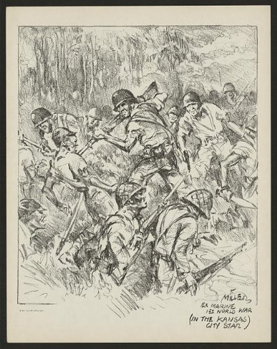 Photo: Us Marine Corps,Action,Bayonets,World War Ii,1942