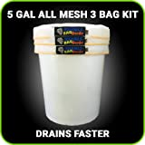 BUBBLEBAGDUDE Bubble Bags All Mesh 5 Gallon 3 Bag Herbal Hash Bubble Bag Ice Extractor Kit - Comes with Pressing Screen and Storage Bag from