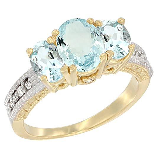 14ct Yellow Gold Diamond Natural Aquamarine Ring Oval 3-stone with Aquamarine, sizes J - T