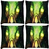 Snoogg Bright Eyes Fantasy Pack Of 4 Digitally Printed Cushion Cover Pillows 18 X 18 Inch