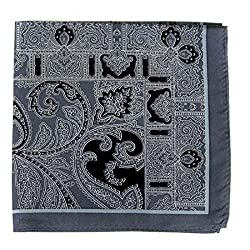 PS-A-634 - Silk Pocket Square - Gray - Black