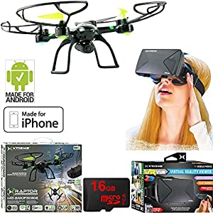 Xtreme Ready-To-Fly 2.4Ghz 6 Axis Gyro Aerial Quadcopter Drone with Camera (05461) with Bundle Includes, Xtreme VR Vue Virtual Reality Viewer for Smartphones + 16GB Micro SD Memory Card from Xtreme