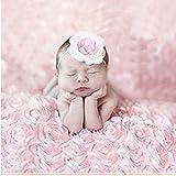 Newborn Baby Photography Props Boy Girl 3D Rose Flower Backdrop Blanket Rug (Pink)