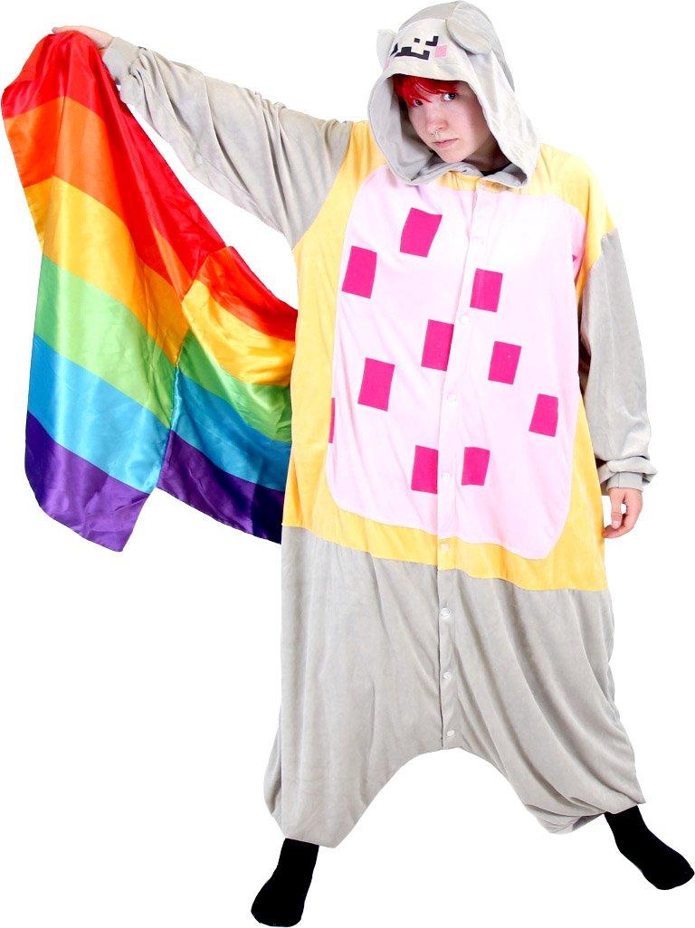 Meme Space Nyan Cat Rainbow Tail Costume Hooded Kigurumi One Piece Pajama