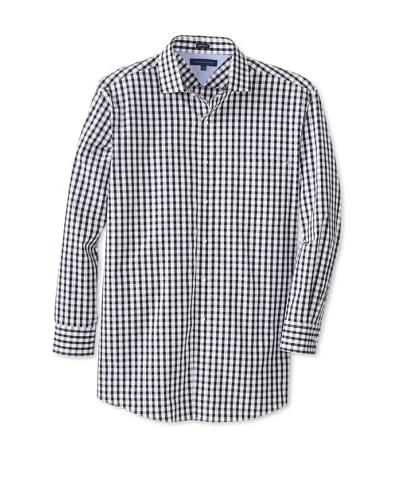 Tommy Hilfiger Men's Regular Fit Z Checked Spread Collar Dress Shirt
