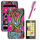 MINITURTLE, Dual Layer Tough Skin Dynamic Hybrid Hard Phone Case Cover, Clear Screen Protector Film, and Stylus Pen for Windows Smart Phone 8 Nokia Lumia 521 /T Mobile /MetroPCS (Seamless Antique Swirls / Pink)