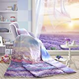 LOVO Provence Lavenders with Fragrance 100% Cotton Fabric All Seasons Quilted Bedspread Coverlet Twin Size