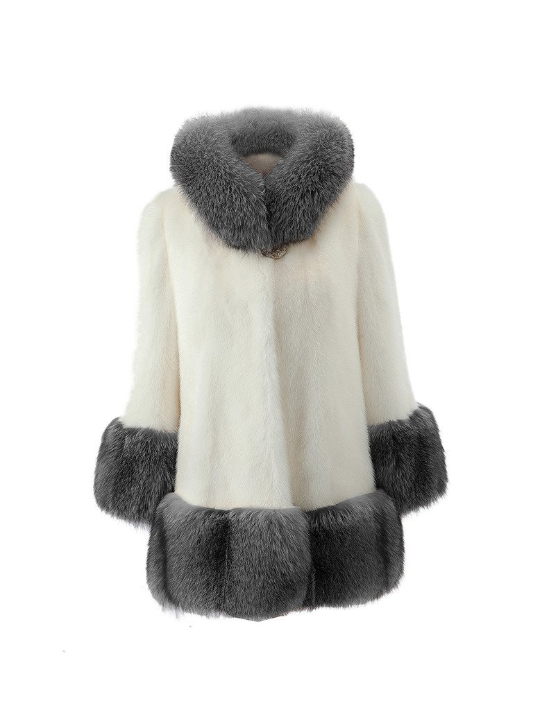 Lkous Women's Vintage Style Luxury Faux Fur Coat with Hooded Collar 0