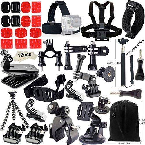 Iextreme 49 en 1 Kit d'accessoires pour GoPro Hero 5 4 3+ 3 2 1 Accessoire Set pour Caméra Action-Poulpes Trépied + Tête Sangle + Sangle de Poitrine + Selfie Stick