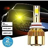 ZHITEYOU 12V Car Headlight LED COB Bulb 38W 4800LM Dual Color 6000K 3000K Auto LED Headlamp 9005 9006 H1 H3 H4 H7 H8 H11 H13 , h8 (Tamaño: h8)