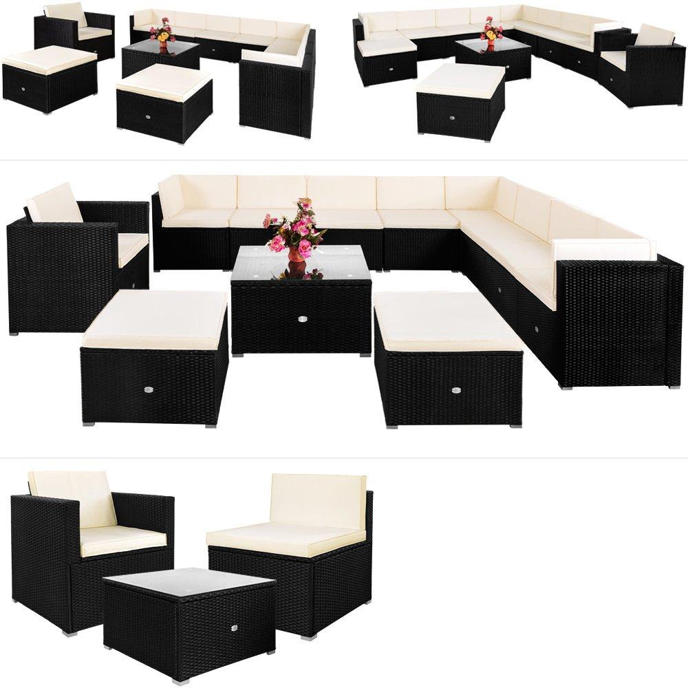 Poly Rattan Lounge 35 tlg Sitzgruppe Sitzgarnitur Gartenmöbel Gartenset Gartengarnitur günstig
