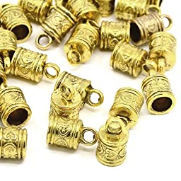 Pack of 10 x Antique Gold Tibetan 10 x 16mm Kumihimo Patterned End Caps - (HA12055) - Charming Beads