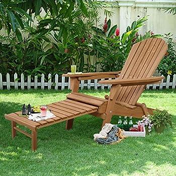 Giantex New Outdoor Foldable Fir Wood Adirondack Chair Patio Deck Garden Furniture ¡ (earthy yellow)