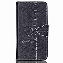 buy Galaxy S5 Case, Jenny Shop Stand Feather New Fashion Style Premium Pu Leather Wallet Flip Cover Case With Built-In Card/Id Credit Card Slots, Cash Pocket, Magnetic Closure (Cat Air Waves)