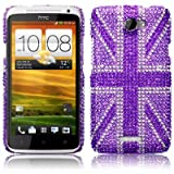 HTC One X Purple Union Jack Diamante Case / Cover / Shell / Shield Part Of The Qubits Accessories Rangeby Qubits