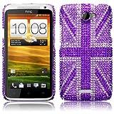 HTC One X Purple Union Jack Diamante Case / Cover / Shell / Shield Part Of The Qubits Accessories Rangeby Qubits