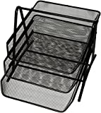 "Sparco 90206 3-Tier Steel Mesh Desk Tray, Black (11 5/8""W x 13 3/4""D x 10 5/8""H)"