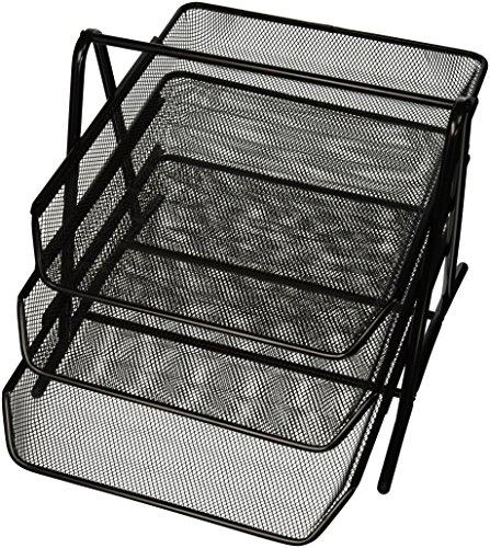 90206 3 tier steel mesh desk tray black 11 5 8 quot w x 13 3 4 quot d x 10 5