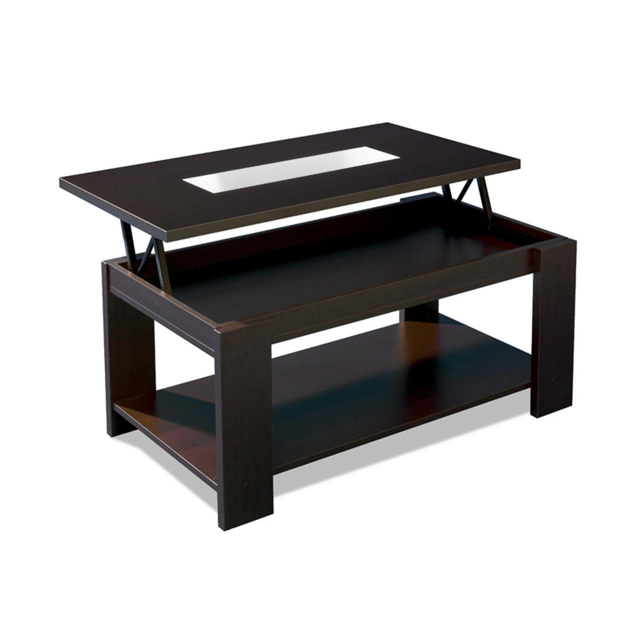 Triauxi mesa de centro elevable con cristal rectangular - Mesas color wengue ...