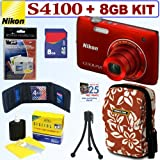 Nikon Coolpix S4100 14 MP Digital Camera (Red) + 8GB Accessory Kit