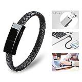 Dzzkoye USB Charging Cable Bracelet Short Portable Leather Charger cord (L) (Color: Black, Tamaño: L)