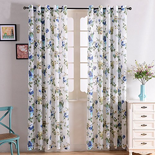 Top Finel Garden Bloom Voile Window Curtain Sheer Panels For Living Room 76 inch Width X 84 inch Length Single panel,Blue,Grommets (Sliding Door Semi Sheer Curtains compare prices)