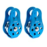 2 Pieces 20KN Fixed Side Climbing Pulleys Ball Bearing Micro Pulley Rappelling Rescue Safety Equipment (Color: Blue)