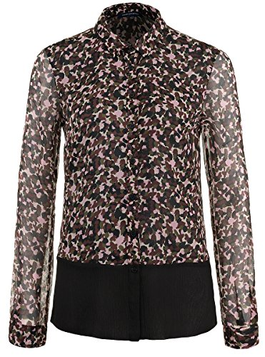 french-connection-damen-pebble-petal-bluse-khaki-multi-black-grosse-36-uk-10