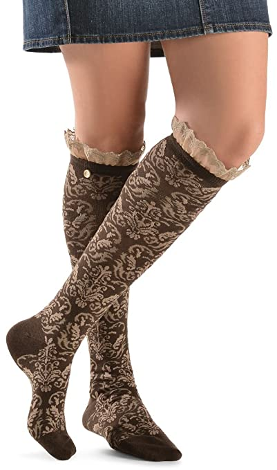 Blazin Roxx Women's Two-Tone Floral Embroiderd With Lace Knee-High Socks Brown Medium