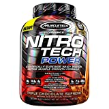 MuscleTech Nitro Tech Power Powder, Superior Whey Protein Peptide Muscle Growth Formula, Triple Chocolate Supreme, 4 lbs (1.81kg)